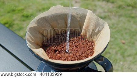 Hand Drip coffee at camping site
