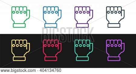 Set Line Mma Glove Icon Isolated On Black And White Background. Sports Accessory Fighters. Warrior G