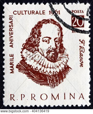 Romania - Circa 1961: A Stamp Printed In Romania Shows Francis Bacon, Was An English Philosopher And
