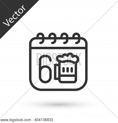 Grey Line Saint Patricks Day With Calendar Icon Isolated On White Background. Four Leaf Clover Symbo