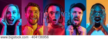 Collage Of Portraits Of Young Emotional People On Multicolored Background In Neon. Concept Of Human