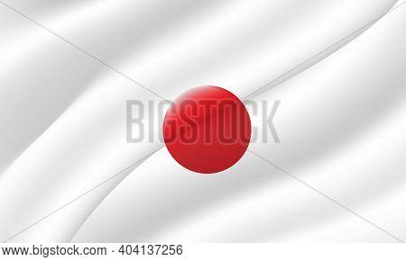 Japan Flag Of Silk. Waving Color Flag With Silk, Satin Texture. 3d Illustration.