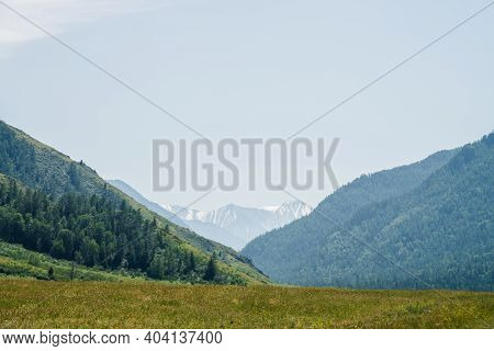 Wonderful Alpine Landscape With Big Snowy Mountains, Giant Mountainside With Conifer Forest And Gree