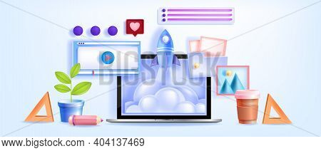 Online Education, Video Conference, Learning Webinars, Tutorials Vector Concept With Laptop Screen,