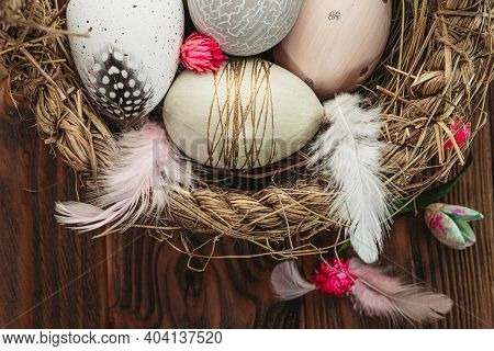 Easter Greetiing Card. Easter Eggs On Woden Backround With Copy Space