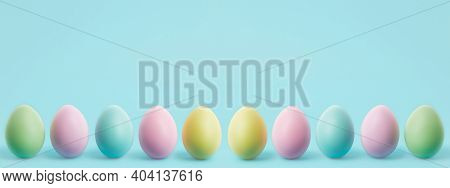 Easter Eggs Banner. Colorful Easter Eggs With Copy Space. Happy Easter Greeting Card