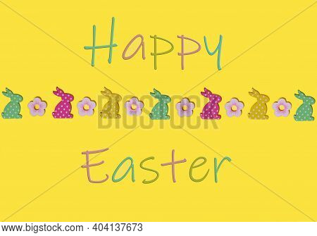 Happy Easter Greeting Card Wit Rabbits On Yellow Background. Flat Lay Composition With Colored Decor