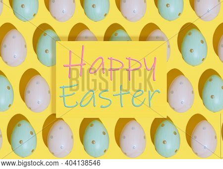 Happy Easter Greeting Card On Colored Eggs Background. Flat Lay Composition With Easter Eggs. Mockup