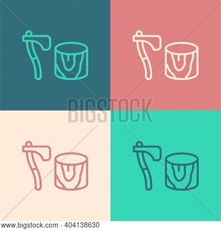 Pop Art Line Wooden Axe In Stump Icon Isolated On Color Background. Lumberjack Axe. Axe Stuck In Woo