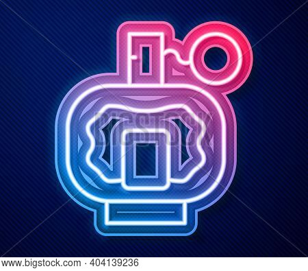 Glowing Neon Line Aftershave Icon Isolated On Blue Background. Cologne Spray Icon. Male Perfume Bott