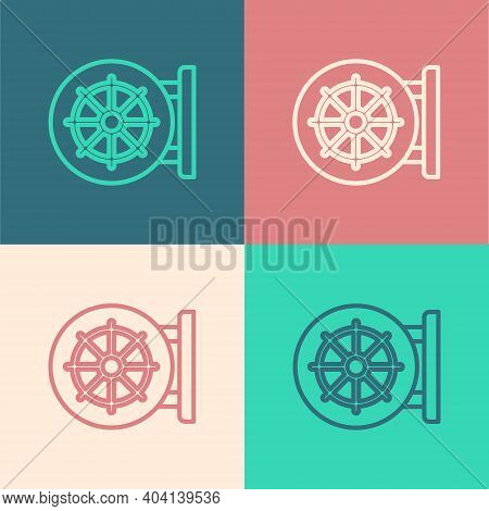 Pop Art Line Dharma Wheel Icon Isolated On Color Background. Buddhism Religion Sign. Dharmachakra Sy