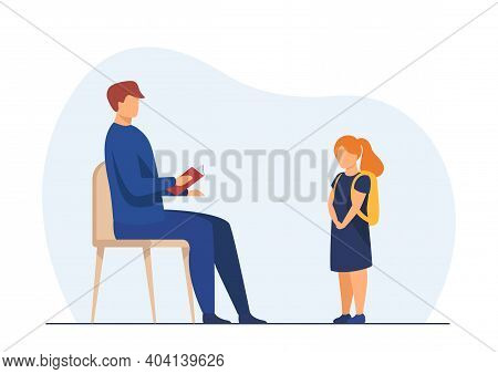 Dad Checking Grades Of School Student Daughter. Father Scolding Kid For Underachievement. Flat Vecto