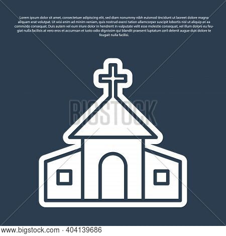 Blue Line Church Building Icon Isolated On Blue Background. Christian Church. Religion Of Church. Ve