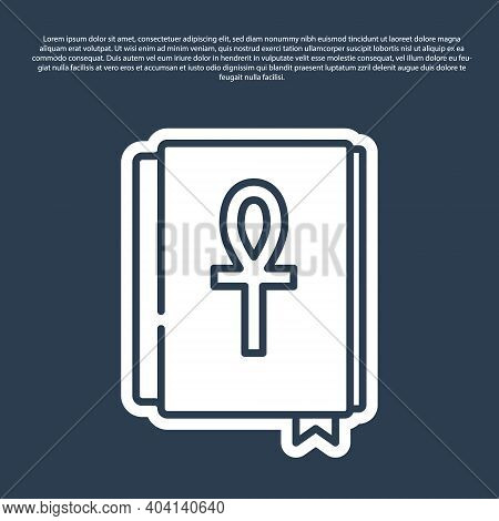 Blue Line Cross Ankh Book Icon Isolated On Blue Background. Vector