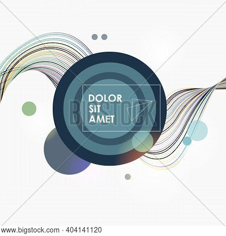 Pattern With Colorful Smooth Lines And Circles On White Background For Decorative Design. Dynamic Mo