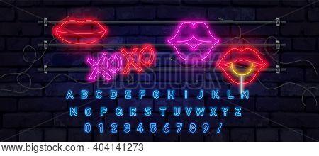 Retro Neon Lips Sign. Romantic Kiss, Kissing Couple Lip Bar. Vector Set Of Realistic Isolated Neon E
