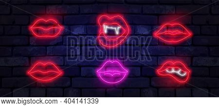 Set Of Neon Lips Sign. Romantic Kiss, Kissing Couple Lip Bar. Vector Set Of Realistic Isolated Neon