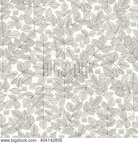 Vector Leaf Pen Hand Drawing Motif With Ivory Background Seamless Repeat Pattern