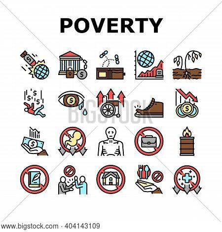 Poverty Destitution Collection Icons Set Vector. Lost Job And House, Miscarriage And Illness, Hunger