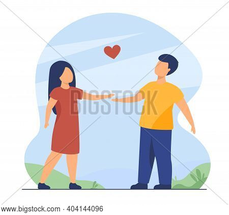 Couple Of Kids Dating Outdoors. Children Holding Hands, Red Heart Shape. Flat Vector Illustration. C