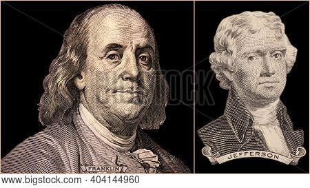 Portrait Of U.s. Presidents Benjamin Franklin And Thomas Jefferson