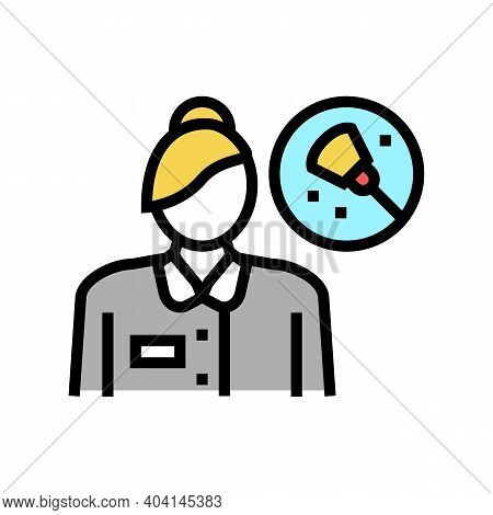 Maid Cleaning Service Employee Color Icon Vector. Maid Cleaning Service Employee Sign. Isolated Symb