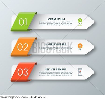 Arrow Infographic Template With 3 Steps, Options, Parts, Elements. Origami Style. Vector Banner. Can