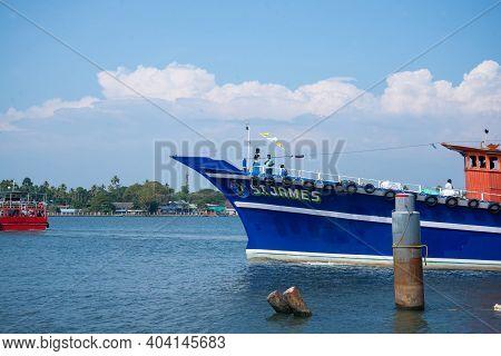 Kerala, India - 15 January 2021: Blue Fishing Ships On The Indian Sea, Kerala India