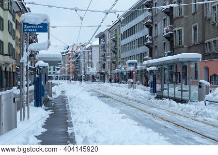 Zurich, Switzerland - January 15th 2021: Tram Station Out Of Service Due To Snow