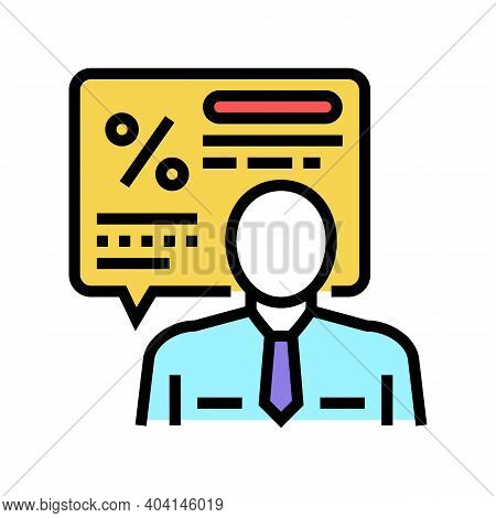 Manager Explaining Loan Color Icon Vector. Manager Explaining Loan Sign. Isolated Symbol Illustratio