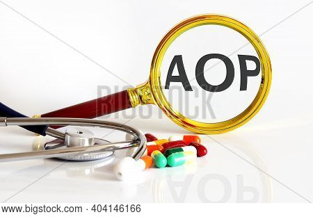 Magnifying Lens With Text Aop With Medical Tools,pills