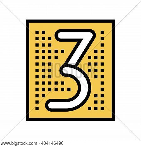 Third Number Color Icon Vector. Third Number Sign. Isolated Symbol Illustration