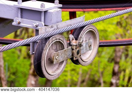 Cable Car Gear Wheels. Rollers And Pulleys Of The Ski Lift