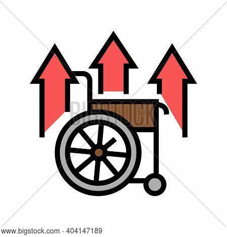 Disability Increasing Poverty Problem Color Icon Vector. Disability Increasing Poverty Problem Sign.