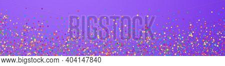 Festive Resplendent Confetti. Celebration Stars. Rainbow Confetti On Violet Background. Adorable Fes