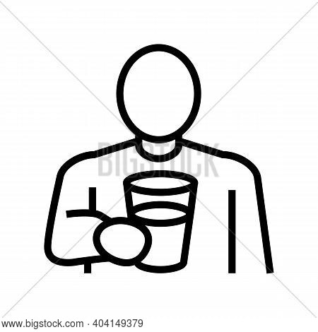 Drink Water, Thirst Line Icon Vector. Drink Water, Thirst Sign. Isolated Contour Symbol Black Illust