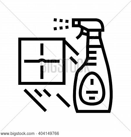Sprayer For Cleaning Tile Line Icon Vector. Sprayer For Cleaning Tile Sign. Isolated Contour Symbol