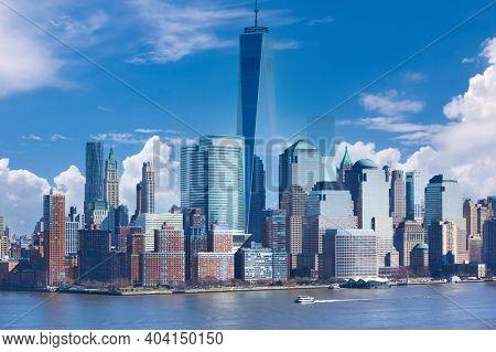 New York City Manhattan skyline over Hudson River viewed from New Jersey