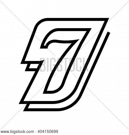 Seventh Number Line Icon Vector. Seventh Number Sign. Isolated Contour Symbol Black Illustration