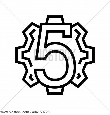 Fifth Number Line Icon Vector. Fifth Number Sign. Isolated Contour Symbol Black Illustration
