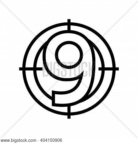 Nine Number Line Icon Vector. Nine Number Sign. Isolated Contour Symbol Black Illustration