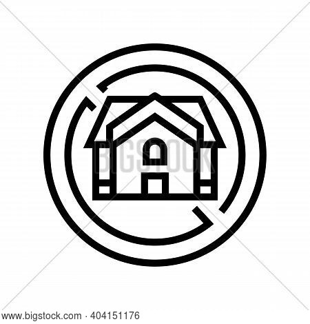 Homeless Poverty Problem Line Icon Vector. Homeless Poverty Problem Sign. Isolated Contour Symbol Bl