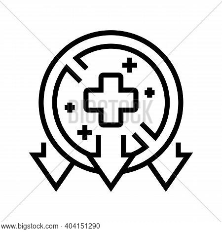 Illness, Poverty Problem Line Icon Vector. Illness, Poverty Problem Sign. Isolated Contour Symbol Bl