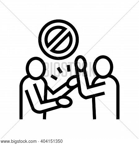 People Fight Poverty Problem Line Icon Vector. People Fight Poverty Problem Sign. Isolated Contour S
