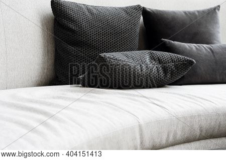 Detail Image Of Cushion On Sofa, Modern Living Room.