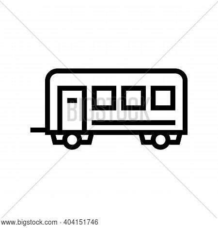 Passengers Transportation Trailer Line Icon Vector. Passengers Transportation Trailer Sign. Isolated