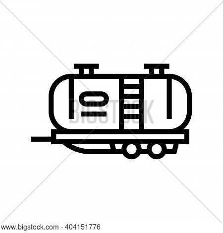 Petrol Transportation Trailer Line Icon Vector. Petrol Transportation Trailer Sign. Isolated Contour