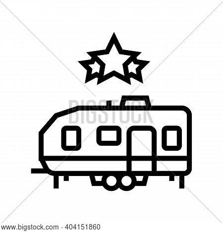 Celebrity Trailer Line Icon Vector. Celebrity Trailer Sign. Isolated Contour Symbol Black Illustrati