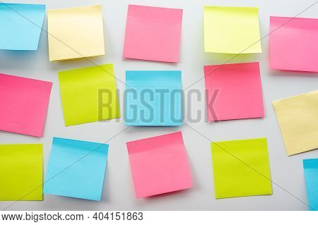 Blank Sticker Notes On The White Background. Mockup Sticky Note Paper. Business People Meeting And U