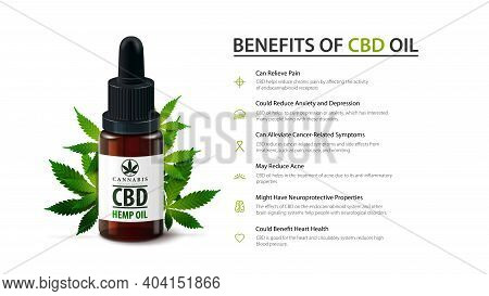 White Template Of Medical Uses For Cbd Oil, Benefits Of Use Cbd Oil. Poster Design With Glass Bottle
